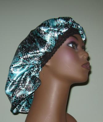 Turquoise and black snake print