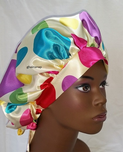 Print Charmuese (Satin) G-Wrap Hair Bonnet