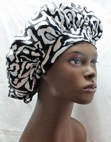 Print Charmuese (Satin) G-Wrap Hair Bonnet 5