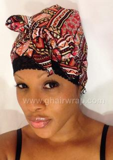 Print Challi G-Wrap Hair Scarf with Stretch Lace