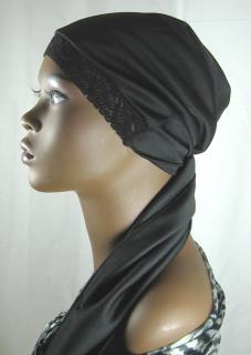 Results Poly-Knit Hair Scarf with Stretch Lace Front 1