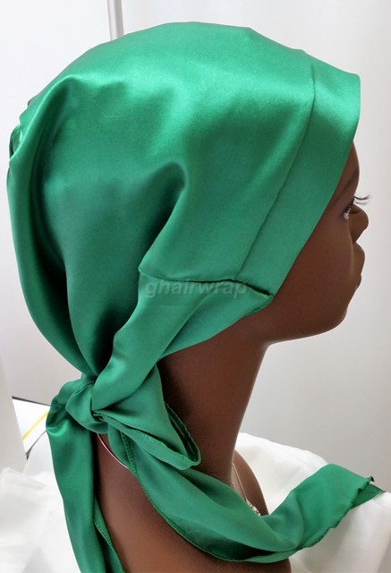 Silk Hair Charmeuse Plain Front Band Emerald