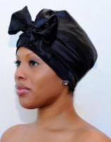 Charmuese (Satin) G-Wrap Hair Scarf, Plain Front 4